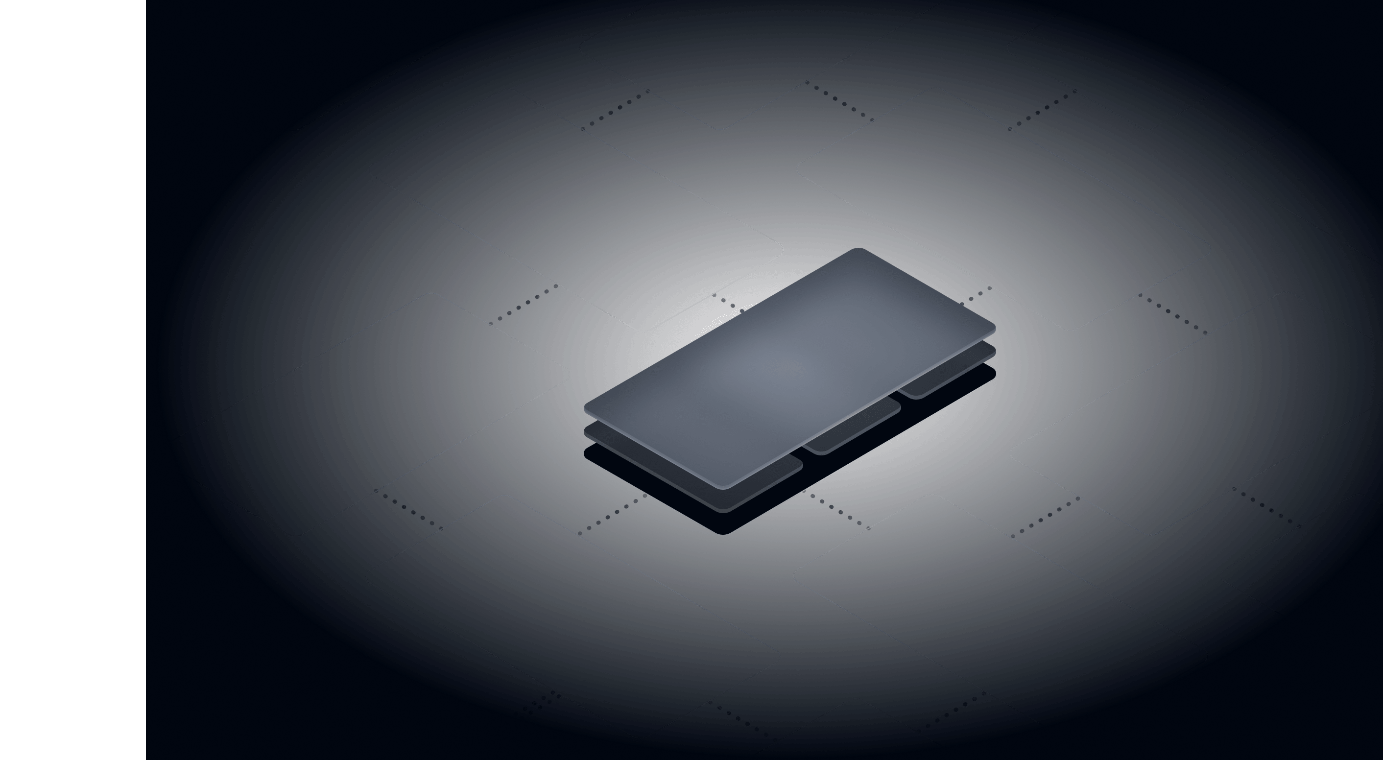 futuristic phone outlines connected by dots floating on a dark background
