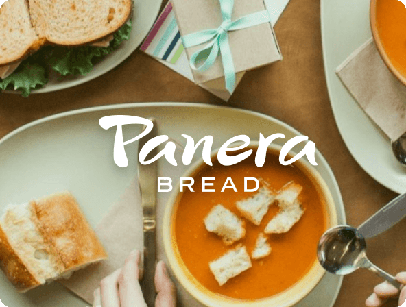 Top down picture of bowl of soup with small sandwich next to it.  Panera Bread logo overlay